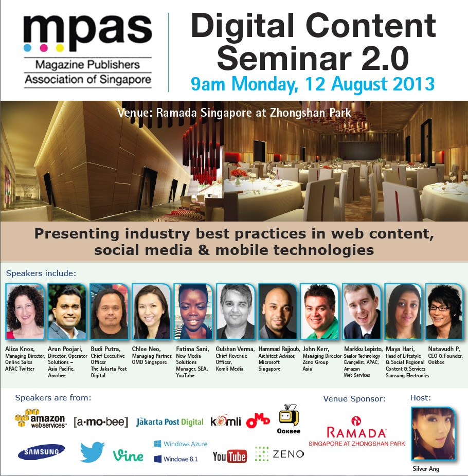 Speaking @ MPAS (Magazine Publisher Association of Singapore) Digital Content on 12th August
